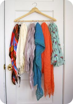 Simple and attractive way to organize my scarves! From Cornflower Blue: Quick DIY :: Scarf Organizer