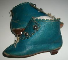 Wonderful Pair of Early JJ French, Cloth Doll Blue Boots