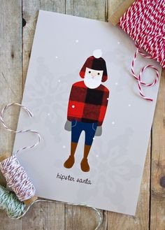 Hipster Santa Christmas Card by ktcrawford on Etsy.