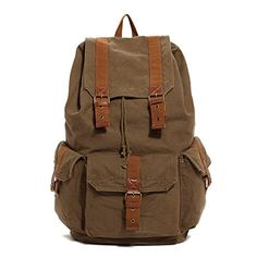 Men's Canvas Vintage Backpack Casual Rucksack Bookbag Outdoor Travel Hiking Camping SA15 * See this awesome item shown here  : Backpacking gear