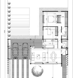 Casas: ideas, arquitectura e imágenes - Best House Plans, Modern House Plans, Small House Plans, Home Design Floor Plans, Plan Design, House Floor Plans, Cute Small Houses, Atrium House, Best Garage Doors