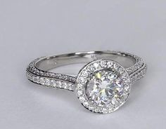 Heirloom Halo Micropave Diamond Engagement Ring in Platinum   Blue Nile