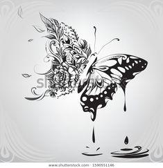 Butterfly Tattoo Designs, Butterfly Art, Butterfly Design, Butterflies, Zentangle Drawings, Ink Pen Drawings, Tattoo Drawings, Flower Cover Up Tattoos, Lillies Tattoo
