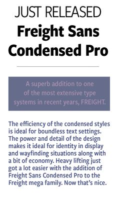 Freight Sans Condensed Pro from GarageFonts
