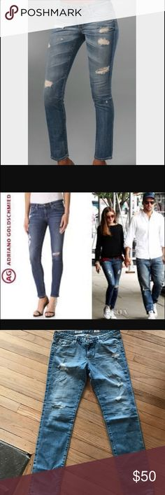 """🆕AG 'the stilt' cigarette jean. Size 31 Brand new with tags 🍾These gorgeous jeans are low-rise and skinny fit. Reposhing as they fit small and don't fit me. (see product description below).  Cotton/polyurethane Machine wash Made in USA Fits small, if between sizes, order one size up Zip fly with button closure, five-pocket silhouette Contrast stitching, brass logo hardware 7.5"""" rise, 30"""" inseam, 11.5'' leg opening AG Adriano Goldschmied Jeans"""