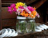 Items similar to Sale Turquois Blue Mason Jar Spring Bouquet on Etsy. , via Etsy.