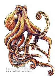 Giant Pacific Octopus Tattoo Design by HeatherHitchman More