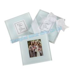 Brazil Free Shipping 20pcs=10box Photo Glass Coasters with box BD001 Baby birthday party Favor
