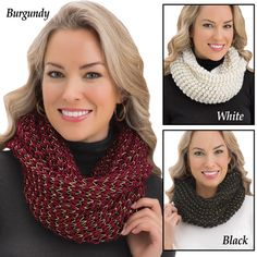 Metallic Infinity Knit Scarf Collections Etc, Online Gifts, Infinity, Burgundy, Metallic, Knitting, Crochet, Unique, Fashion