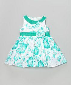 Look what I found on #zulily! Mint Rosette A-Line Dress - Toddler & Girls #zulilyfinds