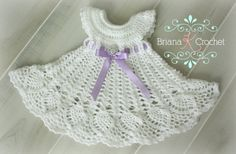 Love this crochet dress pattern for a newborn baby girl. It's seriously…