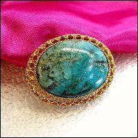 Chrysocolla Brooch Big Gemstone Pin 1960s Vintage Jewelry  $145