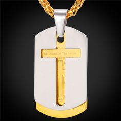 Cross Necklace With Pendant Bible Lords Prayer Tags.   Features: 100% Brand new, high quality and a MUST HAVE! The quality is very good, it is experienced preci
