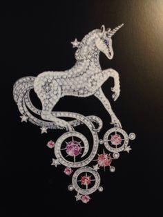 Van cleef & Arpels. Unicorn brooch sketch...♡
