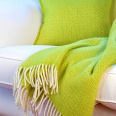 I've just found Lime Green Wool Throw And Cushion Cover. Sharpen up your soft furnishings with this sumptuous lime green genuine wool throw and matching wool cushion cover, spun from decadent Italian wool. Green Cushion Covers, Green Cushions, Luxury Throws, Pistachio Green, Color Balance, Sofa Throw, Green Wool, Mellow Yellow, Snuggles