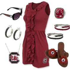 """Dressy Gamecocks Gameday Outfit"" by jewelrywarehouse on Polyvore #gamecocks Everything is available at: http://www.garnetandblacktraditions.com"
