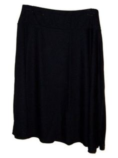 Susan Graver Ponte Knit Double Yoke Skirt Medium 10 12 Black