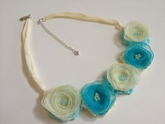 Crochet Necklace, Fabric Flower Necklace, Wedding Necklace, Silk Necklace, Bib Necklace, Statement Necklace