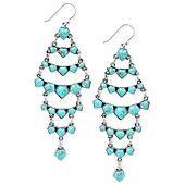 Lucky Brand Earrings, Silver-Tone Turquoise Bead Chandelier Earrings