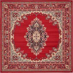 Red Mashad Design Area Rug