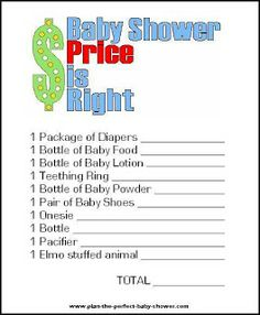 Free Baby Shower Game Print Outs | ... - Handmade Faux Treats for Baby: Baby Shower Price is Right Game