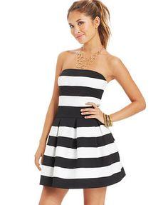 B Darlin Juniors' Striped Textured Dress  Bombers banquet