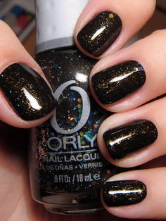 Orly's Androgynie. I can deal with a black color with glitter. Good for fall