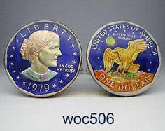 USA coin cufflinks old Dollar Susan B.Anthony 26mm.