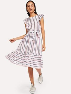 Buy Ruffle Hem Flutter Sleeve Belted Striped Dress in the online store - BigShopStyle Ruffle Dress, Striped Dress, Dress Up, Cute Dresses, Summer Dresses, Women's Dresses, Latest Dress, Dress Outfits, Dress Clothes