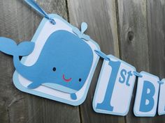 Whale 1st Birthday Banner Blue and White by SweetSambolina on Etsy, $26.00