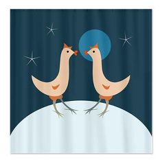 Hens Night Party Shower Curtain  Two hens on the dark sky and sparkling stars background, can be used for hens night party.    $54.50