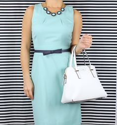 J.Crew mint emmaleigh dress and Banana Republic bloom necklace with Kate Spade Cedar Street Maise white Satchel