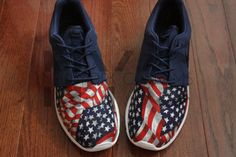 Nike Roshe Run NAVY BLUE American Flag V5 Edition by NYCustoms