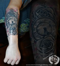 Clock with roses; tattoo by Blaze www.zentattoogallery.com www.facebook.com/zentattoozagreb