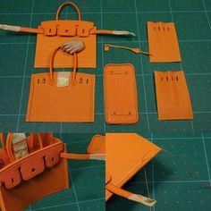 미니어쳐 버킨 (miniature birkin) #가죽공예 #미니어쳐 #버킨백 #크리스페 #고트스킨 #birkin #miniature #bag #leathercraft #relma #crisper #goatskin #orange #lincable #handmade