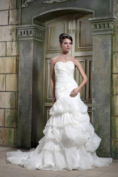 Trumpet/Mermaid Sweetheart Satin Organza Court Train Wedding Dress