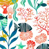 Colorful Ocean Fabric – Ocean Plants And Fish In Watercolor By Heleen Vd Thillart – Ocean Cotton Fabric By The Metre by Spoonflower - fabriccrafts Ocean Fabric, Sea Plants, Watercolor Mermaid, Design Graphique, Cotton Canvas, Cotton Fabric, Deco, Fabric Crafts, Spoonflower