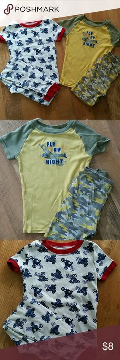 "2 pack pjs Both short sleeve w pants. First is yellow w army green camo. ""Fly by night"" w bomber. Second is white/blue/red w dirt bikes Faded Glory Pajamas Pajama Sets"