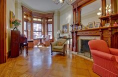 Brooklyn New York Montgomery Place brownstone Victorian interior fireplace mantle bay windows woodwork by techpro12, via Flickr