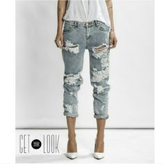 Distressed Denim Gorge Smoky Gray distressed denim. New Jeans