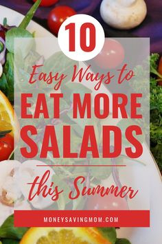 10 Days of Salads - learn 10 easy ways to eat more salads this summer! Easy Salad Recipes, Easy Salads, Whole Food Recipes, Vegetarian Recipes, Healthy Recipes, Fast Dinners, Cheap Dinners, Wonton Strips, Salads For A Crowd