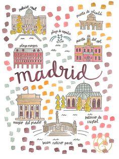 Madrid Map Print by EvelynHenson on Etsy www.evelynhenson.com
