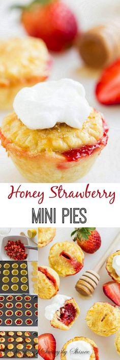 Super flaky piecrust cups filled with honey glazed juicy sweet strawberries and bejeweled with turbinado sugar. Top these mini strawberry pies with tangy yogurt whipped cream for an unforgettable summer dessert!