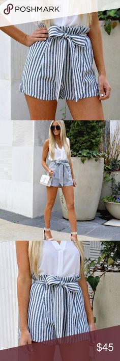 JUST ARRIVED! Striped Paperbag Shorts These fun little shorts are perfect for brunch with the girls or a night out!   More details to follow. Aluna Levi Shorts
