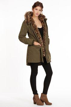 Leopard Faux Fur Lined Parka