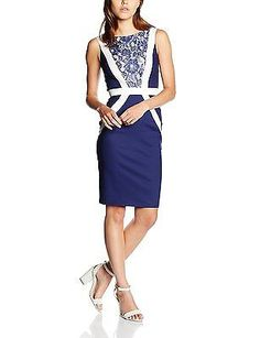 14, Multicoloured (Navy/ Cream), Paper Dolls Women's Lace Panel Dress NEW