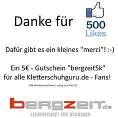 Danke für 500 Facebook-Likes! - http://www.kletterschuhguru.de/danke-fuer-500-facebook-likes/