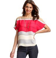 Colorblock Stripe Tee Blouse - In colorblock-chic neopolitan hues, this relaxed style is an incredibly sweet (and irresistible) confection. Boatneck. Short dolman sleeves.