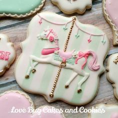 - Carousel Horse by Love Bug Cookies Fancy Cookies, Iced Cookies, Cute Cookies, Royal Icing Cookies, Yummy Cookies, Sugar Cookies, Circus Cookies, Horse Cookies, Bolacha Cookies