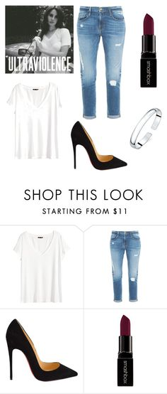 """Ultraviolence (inspired by Lana Del Rey)"" by nicole523 ❤ liked on Polyvore featuring H&M, Frame Denim, Christian Louboutin and Smashbox"